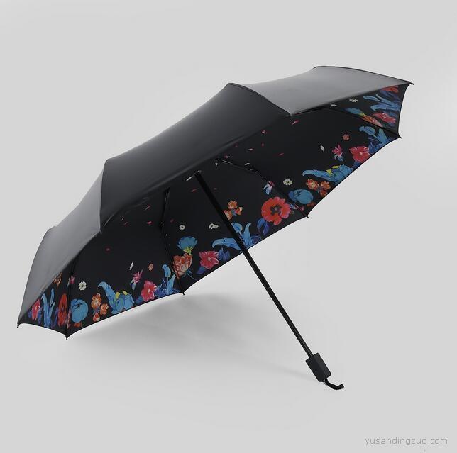 定制LOGO新款轻小黑伞创意晴雨伞 诗馥昙