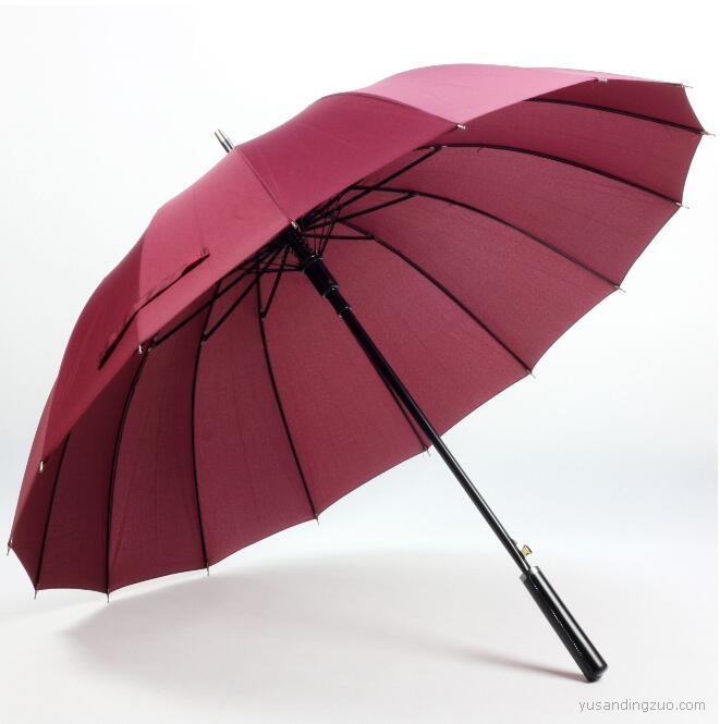 16骨纯色晴雨伞 自动伞长柄雨伞